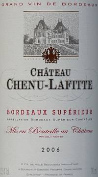 Grand Vin de Bordeaux Chateau Chenu-Lafitte Bordeaux Superieur