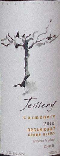 Teillery Carmenere Organically Grown Grapes