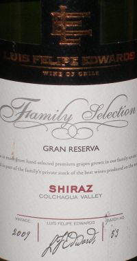 Luis Felipe Edwards Family Selection Gran Reserva Shiraz